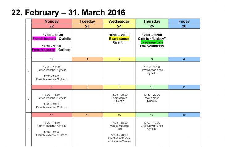 Upcoming workshops and events February – March 2016