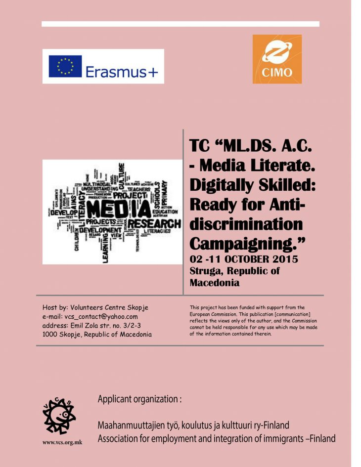 The training course ,,Media Literate,, in Struga