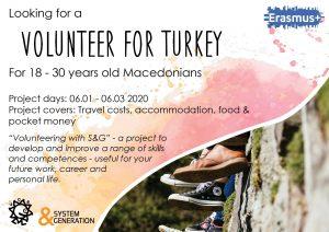 Looking a volunteer for Turkey!