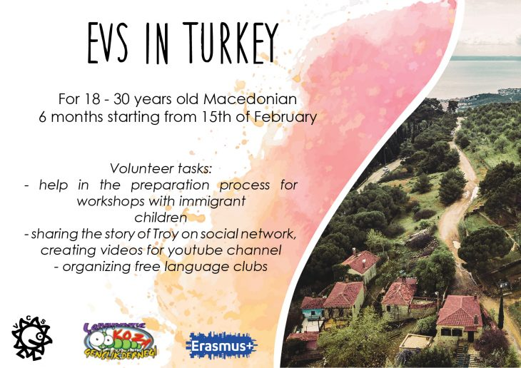 Повик за волонтирање за ЕВС проект во Турција!