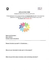 Application Form – Bridging Divided Communities by Youth Work