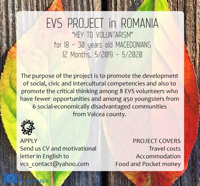 """ЕВС проект во Романија """"Клучот на волонтерството"""""""