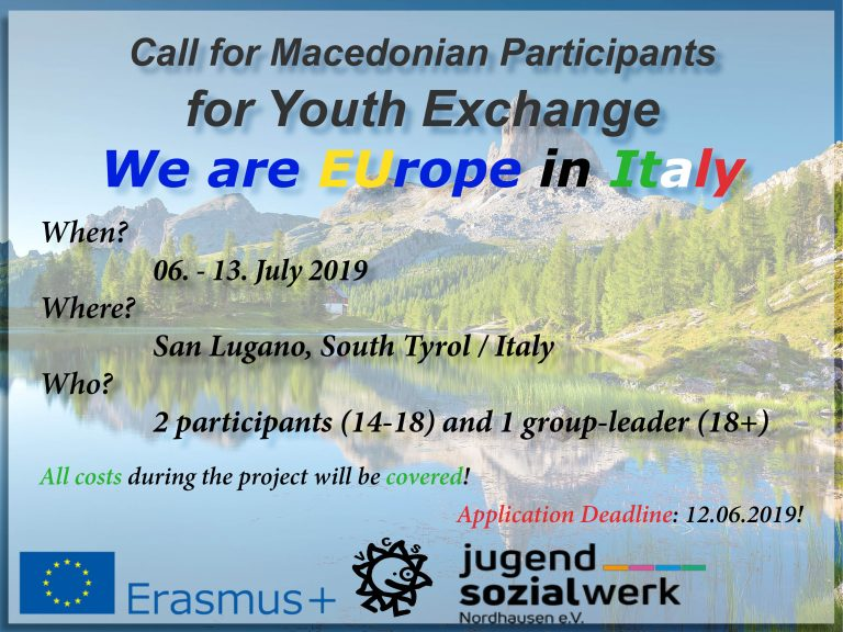 "Youth Exchange – ""We are EUrope"" camp in Italy from 6 to 13th July 2019"