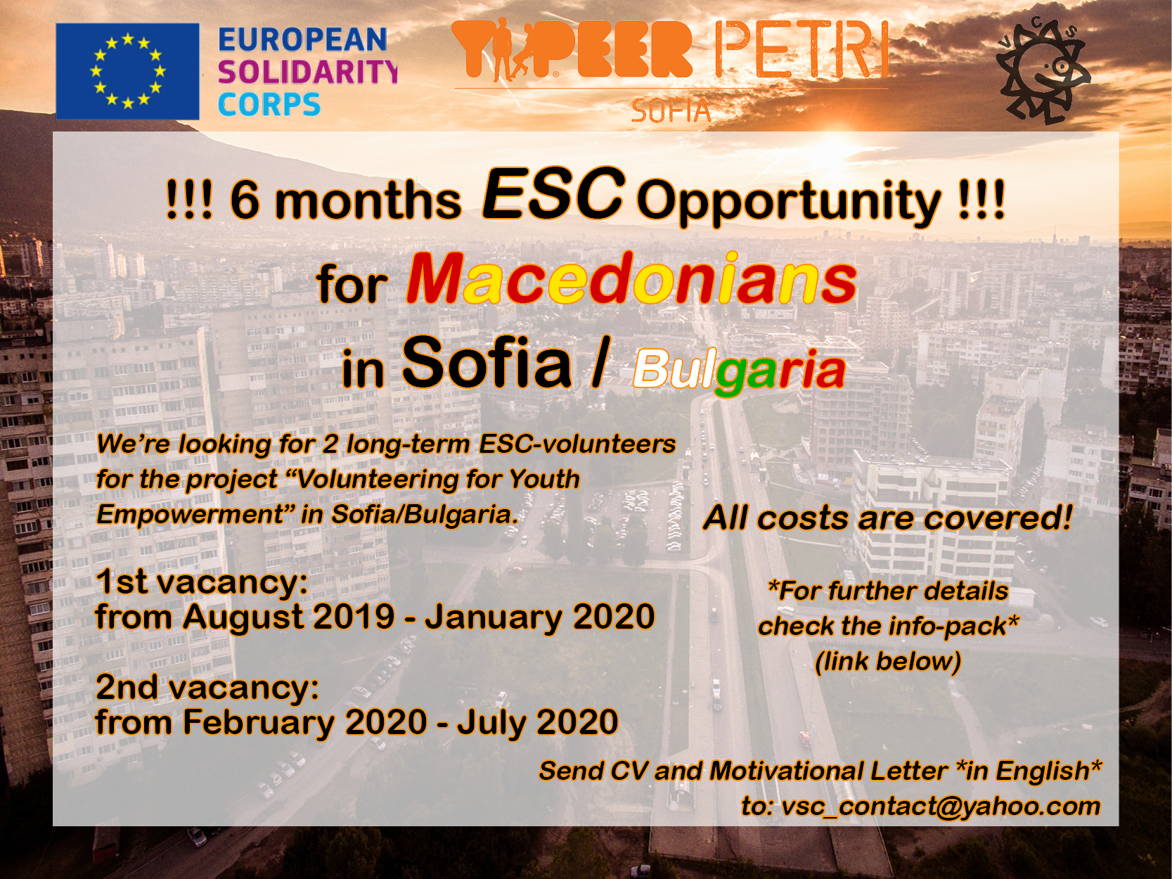 CALL FOR VOLUNTEERS FOR ESC-PROJECT IN SOFIA/BULGARIA