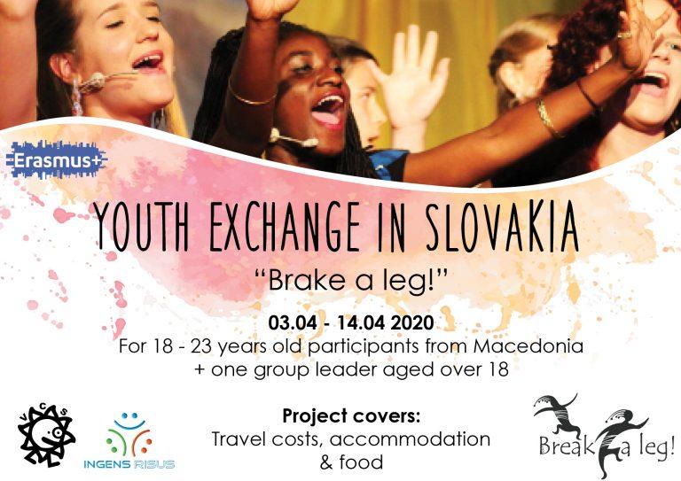 """Повик за младинска размена """"Brake a leg!"""" во Почувадлинско езеро, Словачка"""