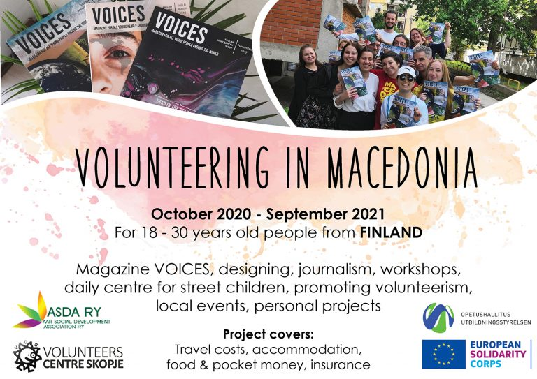 (English) Call for volunteers from Finland to Macedonia!